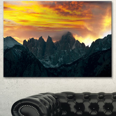 Designart Whitney Mountains Under Cloudy Sky Oversized Landscape Canvas Art - 3 Panels