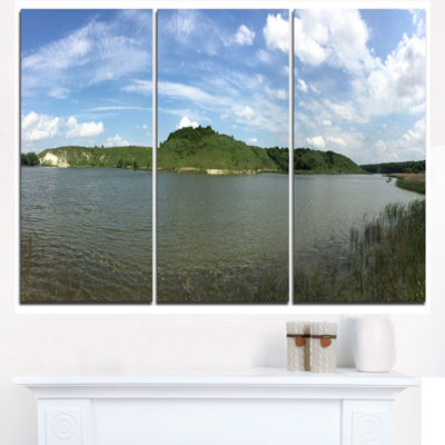 Designart Wide Lake Trees Sky Landscape LandscapeArtwork Triptych Canvas