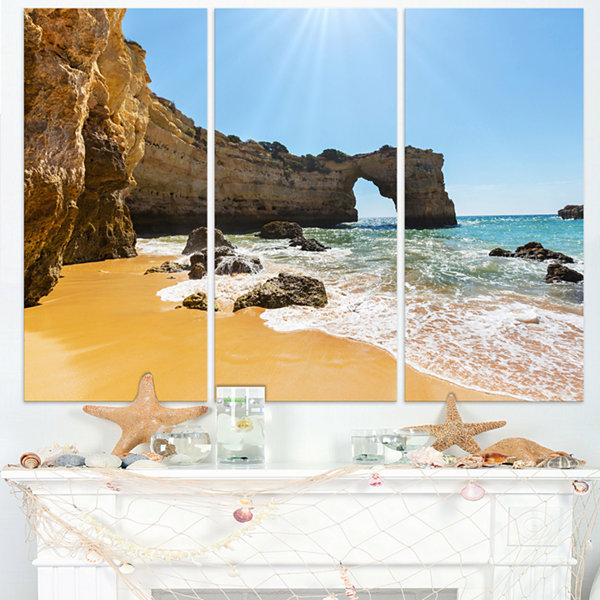 Designart Wide Portugal Beach With White Waters Modern Beach Triptych Canvas Art Print