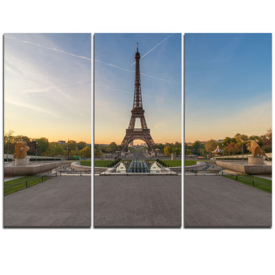 Designart Wide View Of Paris Paris Eiffel ToweratSunrise Cityscape Triptych Canvas Print