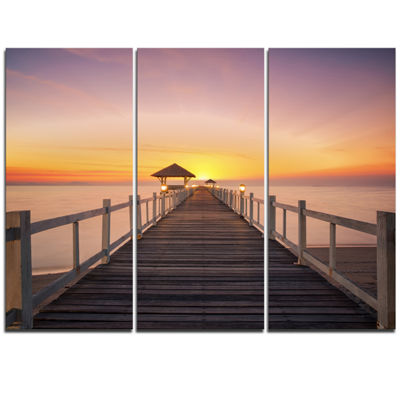 Designart Wide Wooden Bridge Into The Sea Pier Triptych Canvas Art Print