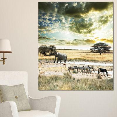 Designart Wild African Zebras And Elephant AfricanCanvas Art Print - 3 Panels