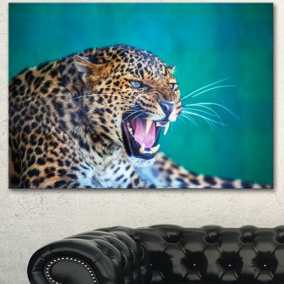 Designart Wild Leopard Close Up View Abstract Canvas Art Print - 3 Panels