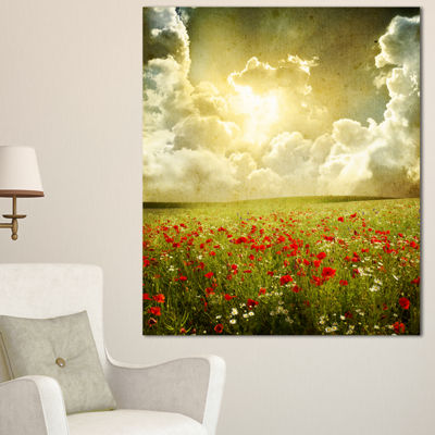 Designart Wild Poppies On Cloudy Background ExtraLarge Landscape Canvas Art