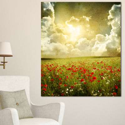 Designart Wild Poppies On Cloudy Background ExtraLarge Landscape Canvas Art - 3 Panels