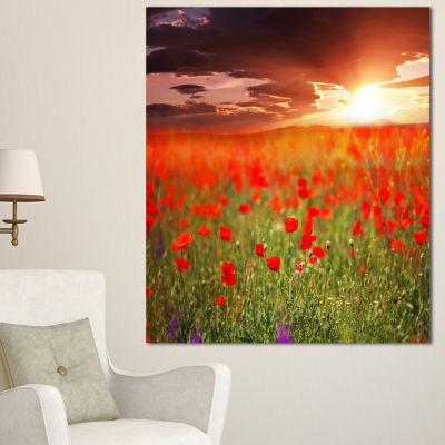 Designart Wild Poppy Flowers At Cloudy Sunset Large Flower Canvas Art Print - 3 Panels