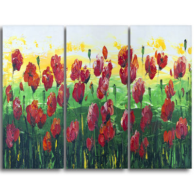 Designart Wild Red Poppies Field Panorama Modern Landscape Wall Art Triptych Canvas