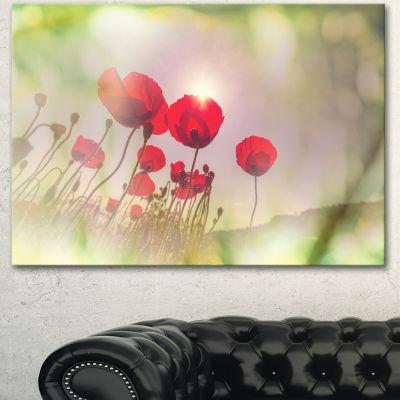 Designart Wild Red Poppy Flowers Floral Canvas ArtPrint - 3 Panels