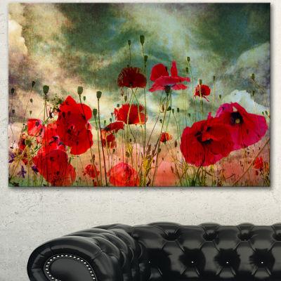 Designart Wild Red Poppy Flowers In Sky Floral Canvas Art Print - 3 Panels