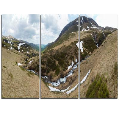 Designart Wild Sprint Mountain Panorama LandscapeArtwork Triptych Canvas