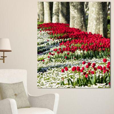 Designart Wild Tulip Flowers In Forest Pasture Floral Canvas Art Print