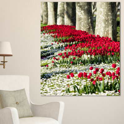 Designart Wild Tulip Flowers In Forest Pasture Floral Canvas Art Print - 3 Panels