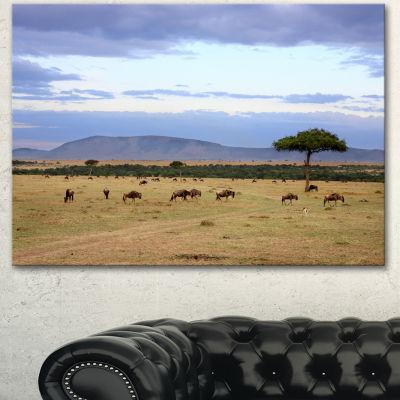 Designart Wildebeest Herd In Masai Mara OversizedAfrican Landscape Canvas Art