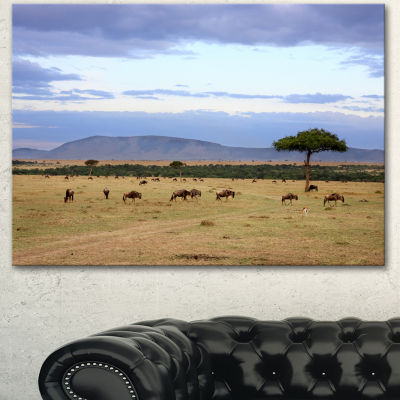 Designart Wildebeest Herd In Masai Mara OversizedAfrican Landscape Canvas Art - 3 Panels