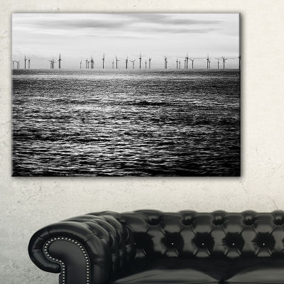 Designart Wind Turbines Black And White LandscapeArtwork Canvas