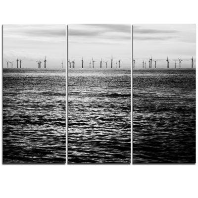 Designart Wind Turbines Black And White LandscapeArtwork Triptych Canvas