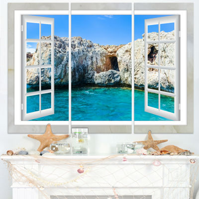 Designart Window Open To Sunny Summer Sea Extra Large Seashore Triptych Canvas Art