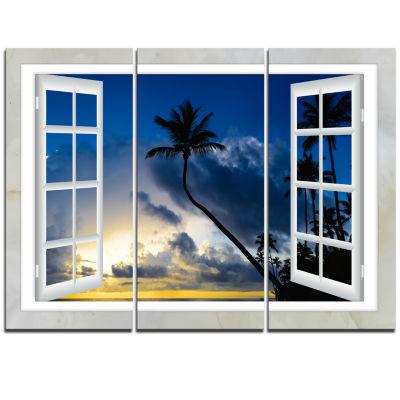 Designart Window To Beach With Coconut Palms Landscape Triptych Canvas Art Print