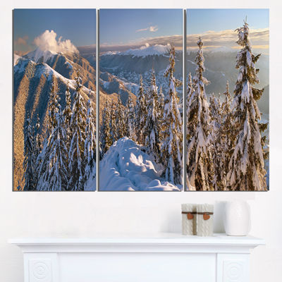 Designart Winter Carpathians Panoramic View Landscape Triptych Canvas Art Print