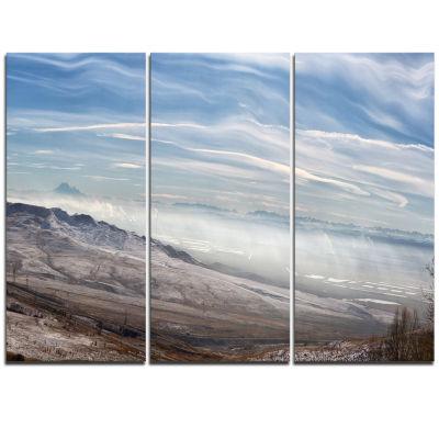 Designart Winter Mountains In Caucasus OversizedBeach Triptych Canvas Artwork