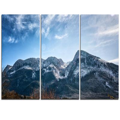 Designart Winter Mountains With Sun Flare Landscape Triptych Canvas Art Print