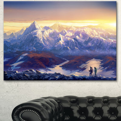 Designart Winter Mountains With Tourists LandscapeCanvas Wall Art