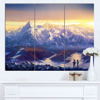 Designart Winter Mountains With Tourists LandscapeCanvas Wall Art - 3 Panels