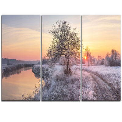 Designart Winter Sunrise Over Frosty Field Landscape Print Wall Artwork