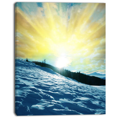 Designart Winter With Blue Waters At Sunset Seashore Canvas Art Print