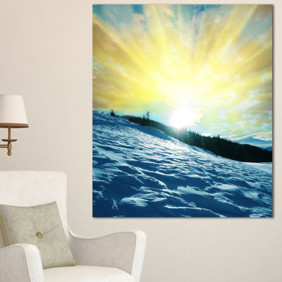 Designart Winter With Blue Waters At Sunset Seashore Canvas Art Print - 3 Panels
