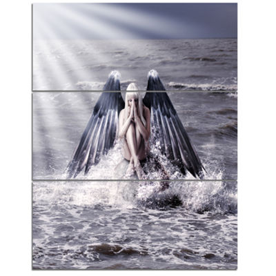 Designart Woman With Dark Angel Wings Modern BeachTriptych Canvas Art Print