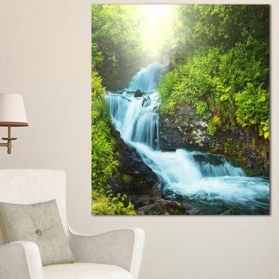 Designart Wonderful Creek In Green Forest Oversized Landscape Canvas Art - 3 Panels