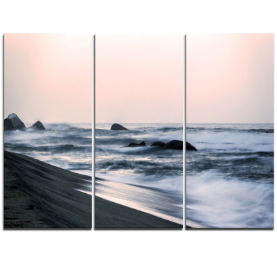 Designart Wonderful Long Exposure Sea Waves BeachPhoto Triptych Canvas Print