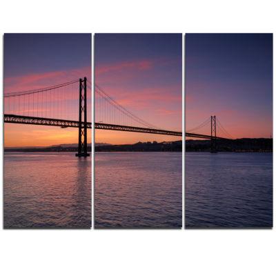 Designart Wonderful View Of Lisbon Bridge Pier Seascape Triptych Canvas Art Print