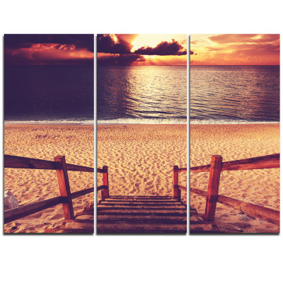 Designart Wood Boardwalk In Beach At Evening Bridge Triptych Canvas Art Print