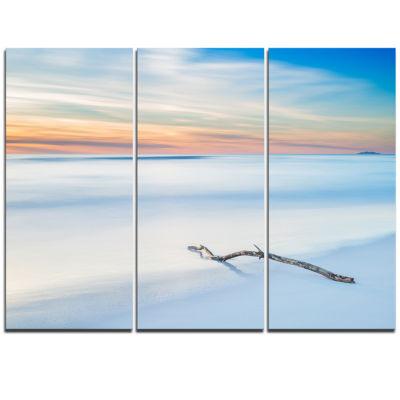 Designart Wood Branch On Beach At Twilight ModernSeascape Triptych Canvas Artwork