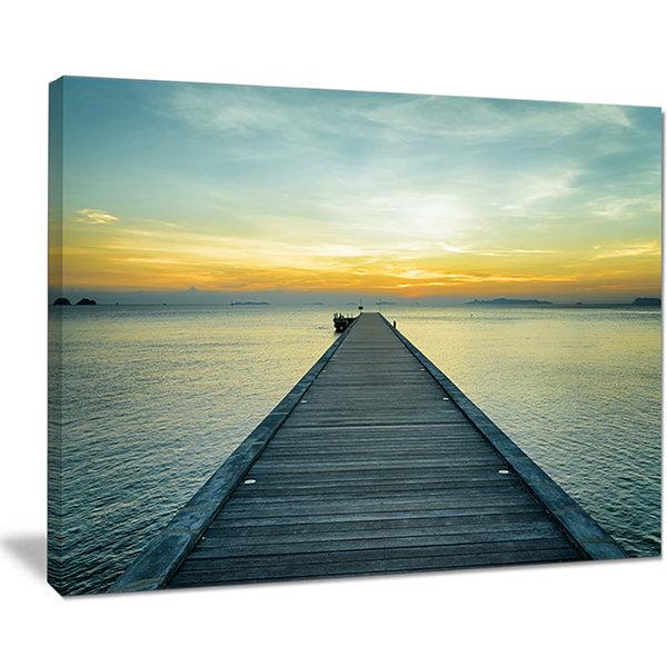 Designart Wood Pier Into The Yellow Blue Sea Wooden Sea Bridge ...