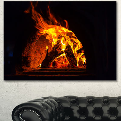 Designart Wood Stove With Fire And Blaze AbstractWall Art Canvas