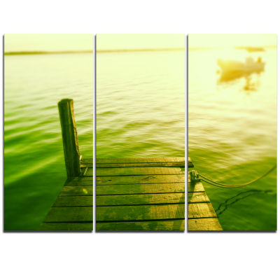 Designart Wooden Boardwalk In Green Sea Bridge Triptych Canvas Art Print