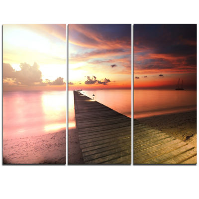 Designart Wooden Boardwalk Into Colorful Sea Bridge Triptych Canvas Art Print