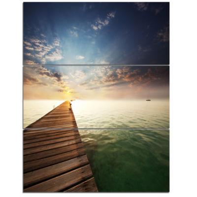 Designart Wooden Boardwalk Into Indefinite Sea Bridge Triptych Canvas Art Print