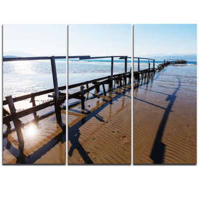 Designart Wooden Boardwalk On Beach Large Sea Bridge Triptych Canvas Art Print