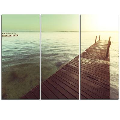 Designart Wooden Boardwalk Over Clear Waters Bridge Triptych Canvas Art Print