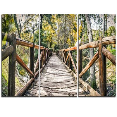 Designart Wooden Bridge In Forest Wooden Sea Bridge Triptych Canvas Wall Art