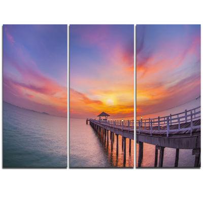 Designart Wooden Bridge Long Into The Ocean PierTriptych Canvas Art Print