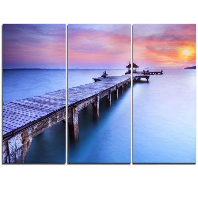 Designart Wooden Bridge Over Blue Waters Pier Triptych Canvas Art Print