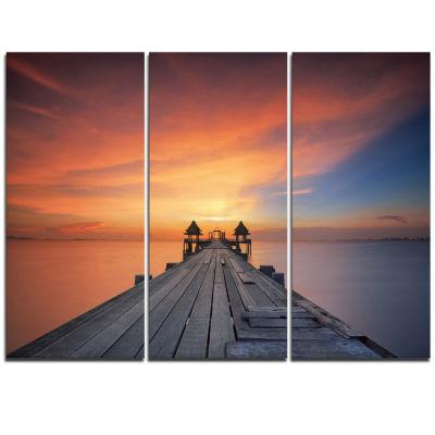 Designart Wooden Bridge Straight Into The Sea SeaBridge Triptych Canvas Art Print
