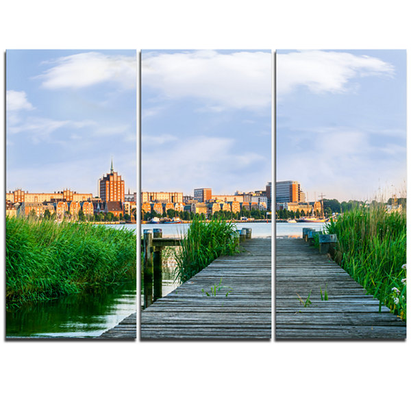 Designart Wooden Bridge To River Warnow LandscapeTriptych Canvas Art Print