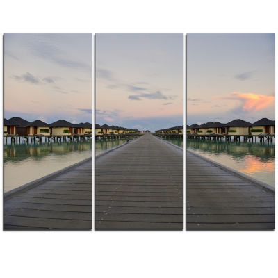 Designart Wooden Bridge To Water Home Villas Wooden Sea Bridge Triptych Canvas Wall Art
