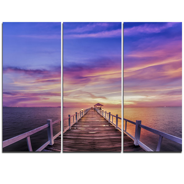 Designart Wooden Bridge Under Purple Sky Pier Seascape Triptych Canvas Art Print